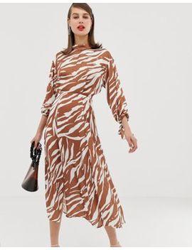 Платье миди с зебровым принтом Asos Design by Asos