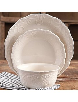 The Pioneer Woman Cowgirl Lace 12 Piece Dinnerware Set (Linen) by The Pioneer Woman