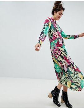 Платье рубашка миди с тропическим принтом Monki by Asos
