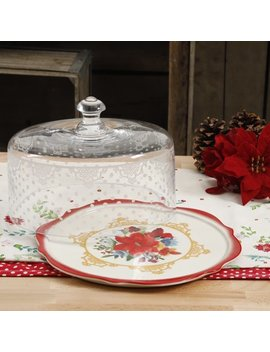 The Pioneer Woman Winter Bouquet 10.4 Inch Cake Plate With Glass Dome by The Pioneer Woman