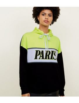 Black Neon Paris  Colour Block Oversized Hoodie by New Look