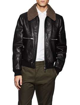 Shearling Trimmed Leather Bomber Jacket by Valentino