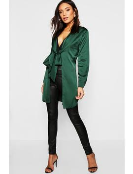 Satin Tie Front Longline Duster by Boohoo