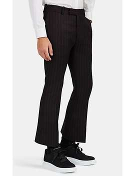 Pinstriped Wool Flared Crop Trousers by Alexander Mc Queen