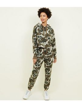 Khaki Camo Print Joggers by New Look
