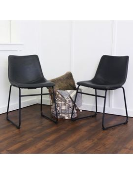 Faux Leather Black Dining Chairs Set Of 2 by Pier1 Imports