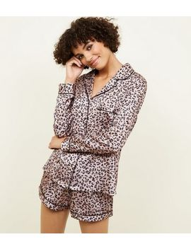 Brown Leopard Print Satin Pyjama Set by New Look