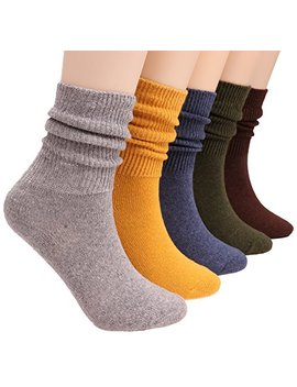 5 Pairs Womens Cotton Crew Socks Casual Slouch Knit Socks Pure Color A10 by Galsang