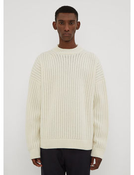 Ribbed Knit Sweater In Cream by Jil Sander