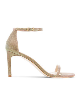 Nudist Metallic Lamé Sandals by Stuart Weitzman