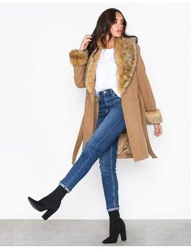 Detachable Faux Fur Trim Coat by New Look