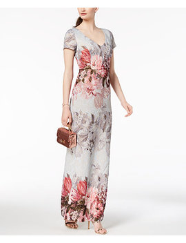 Printed Matelassé Gown by Adrianna Papell
