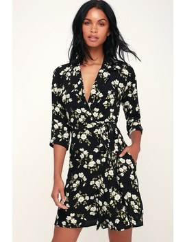 Totally Blossom Black And White Floral Print Collared Wrap Dress by Lulus
