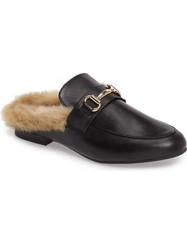 Jill Faux Fur Backless Loafer by Steve Madden