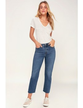 Wedgie Straight Medium Wash High Rise Cropped Jeans by Levi's