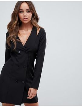 Pretty Little Thing Premium Cut Out Shoulder Blazer Mini Dress In Black by Pretty Little Thing