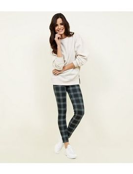 Green Tartan Print Leggings by New Look