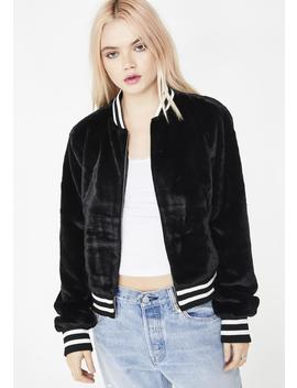 Bad Bish Zone Faux Fur Bomber by Blue Blush