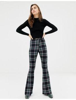 Pantalones De Campana Con Estampado De Cuadros De Asos Design by Asos