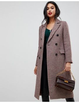 Двубортное пальто макси в клетку Morgan by Asos