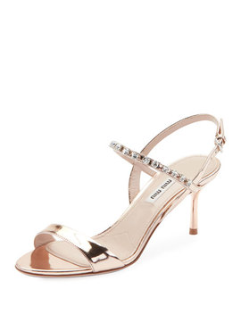 Metallic Shiny Jeweled Sandals by Miu Miu