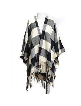 Td Collections Women's Woven Buffalo Plaid Ruana Poncho Wrap Shawl (Black/Whote) by Td Collections