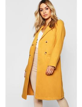 Petite Button Front Double Breasted Coat by Boohoo