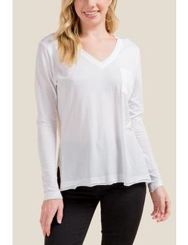 Elaine Basic Vneck Pocket Tee by Francesca's