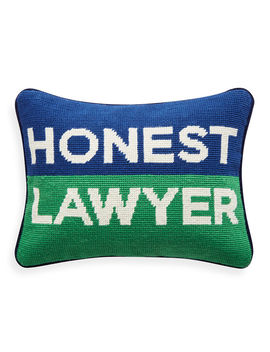 Honest Lawyer Needlepoint Pillow by Jonathan Adler