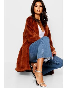 Luxe Collarless Faux Fur Coat by Boohoo