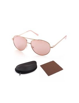 Lot Fancy Aviator Sunglasses For Kids Girls Children, Gold Metal Frame Lens, Pink Tinted Lens,Case Included by Lot Fancy