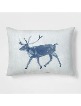 Deer Lumbar Throw Pillow Blue   Threshold™ by Threshold
