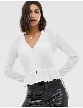 Missguided Button Front Peplum Blouse In White by Missguided