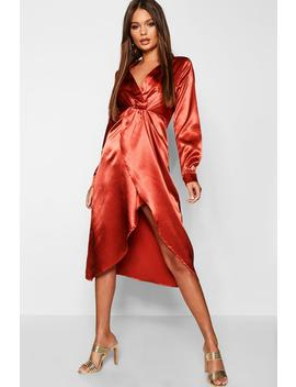 Satin Knot Front Midaxi Shirt Dress by Boohoo