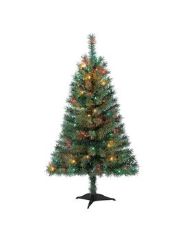 Holiday Time 4ft Pre Lit Indiana Spruce Green Artificial Christmas Tree With 105 Multicolored Lights   Green by Holiday Time