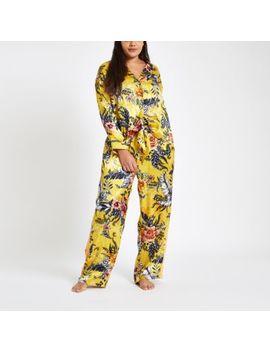 Plus Yellow Jacquard Floral Tie Pyjama Shirt by River Island