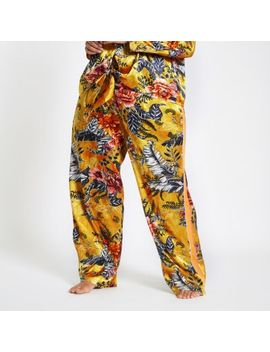 Plus Yellow Jacquard Floral Pyjama Trousers by River Island