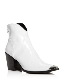 Women's Pose Pointed Toe Leather Mid Heel Booties   100 Percents Exclusive by Aqua
