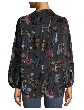 Melany Floral Burnout Velvet Long Sleeve Shirt, Plus Size by Tolani