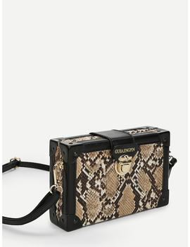 Snakeskin Print Push Lock Crossbody Bag by Sheinside
