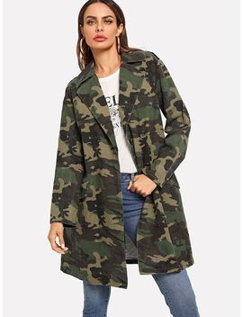 Notch Collar Camo Print Longline Coat by Shein