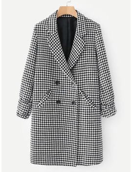 Double Breasted Houndstooth Coat by Sheinside