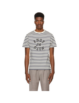 Navy & Off White Striped Logo T Shirt by Jw Anderson