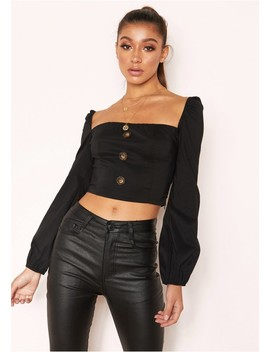 Maddison Black Square Neck Button Crop Top by Missy Empire