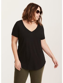Black V Neck Classic Fit Girlfriend Tee by Torrid