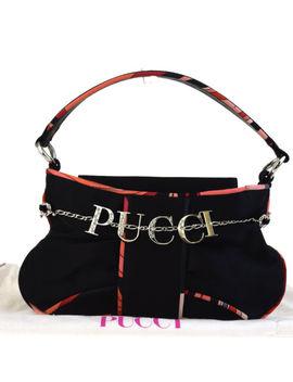 Authentic Emilio Pucci Logos Rhinestone Mini Hand Bag Satin Silk Black 02 Ed339 by Emilio Pucci