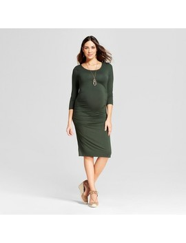 Maternity 3/4 Sleeve Pleated Dress   Isabel Maternity By Ingrid & Isabel™ Forest Green S by Isabel Maternity By Ingrid & Isabel