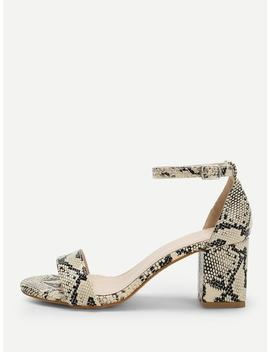 Snakeskin Print Ankle Strap Heeled Sandals by Sheinside