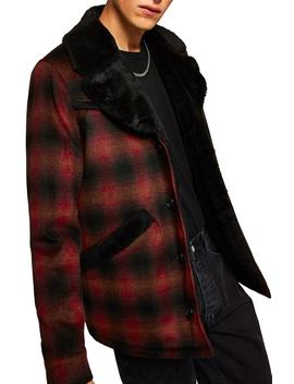 Check Faux Fur Lined Rodeo Jacket by Topman