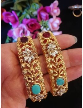Stunning New Kada Indian Pakistani Bangles Wedding Bridal Bangle Semi Precious Stones Zircon Kada Gold Plated Bangles Openable Kada Bracelet by Etsy
